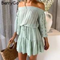 BerryGo Sexy elegant lace off shoulder women mini dress Ruffle pleated flare sleeve embroidery short dress Summer casual dress
