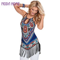 Boho Style Blouses Women Shirt Geometric Print Tassel Hem Hollow Out Sleeveless Women Tops Plus Size Blusas Femininas