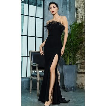 Total Fantasy Black Feather Trim Strapless High Slit Mermaid Maxi Dress
