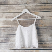 Hope  Crochet Scalloped Hem Tank