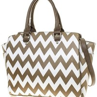 Chevron Print Faux Leather Shoulder Bag Purse Handbag (Taupe)