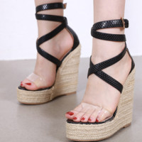 Platform Roman sandals with pointed heels