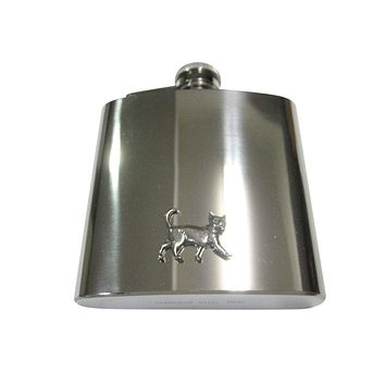 Silver Toned Textured Walking Cat 6oz Flask