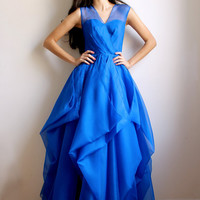 Emilianne- royal blue silk organza dress -sample sale