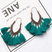 Ethnic Antique Retro Golden Tassel Earrings for Women Fringe Boho earring Christmas fashion earrings with French hook Gifts