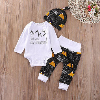 Autumn Spring 3Pcs Infant Newborn Baby Girl Boy Kids Tops +Long Pants Hat Outfit Clothes Set