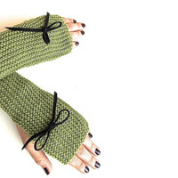 Olive Green Fingerless Gloves, Knitted Mittens, Hand Warmers with Black Suede Bow