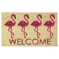 Pink Flamingo Whimsical Doormat Rug Welcome Mat