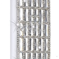 BLING Swarovski & Czech Crystal Jersey Bling® Faux Leather iPhone 5, 5s Handmade Case Wallet w/Cards & ID Slot & Magnetic Closure (Clear)