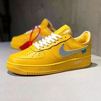 NIKE Air Force 1 x Off White Newest Trending Men Sport Running Shoes Sneakers Yellow