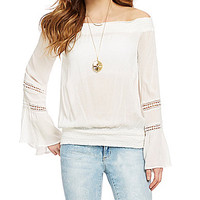 XOXO Off-the-Shoulder Lace-Inset Peasant Top - Ivory