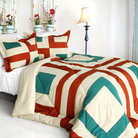 Sicily Quilted Patchwork Down Alternative Comforter Set in Twin Size
