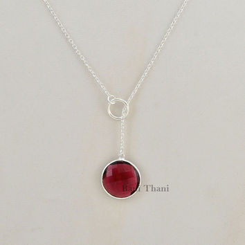 Pink Tourmaline Quartz 16mm Beautiful Round Faceted Genuine 925 Sterling Silver Necklace #2919