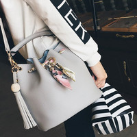 PU Leather Bead Tassels Tote Bag