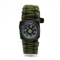 Paracord Survival Bracelet with Compass, Green