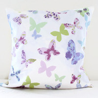 Pastel butterfly cushion cover, cotton pillow cover lilac pink butterfly, 16 inch 40 cms cushion, girly kids room decor, handmade in the UK
