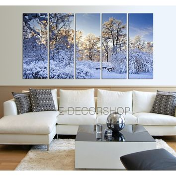 Winter Landscape Canvas Print Snow Canvas Art Prints For Wall Green Trees Large Art Canvas