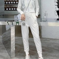 """""""Chrome Hearts"""" Woman's Leisure Fashion  Letter  Printing Zipper Long  Sleeve Tops Trousers Two-Piece Set Casual Wear"""