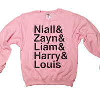 One Direction Sweatshirt - Light Pink - Niall, Zayn, Liam, Harry, & Louis Sweatshirt - All Sizes Available