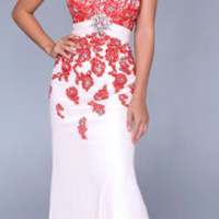 (PRE-ORDER) Nina Canacci 2014 Prom Dresses - Nude & Red Lace Embellished Mermaid Silhouette