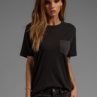 T by Alexander Wang Textured Jersey Crew Tee in Black from REVOLVEclothing.com