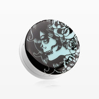 A Pair of Glow in the Dark Day of the Dead Girl Single Flared Ear Gauge Plug
