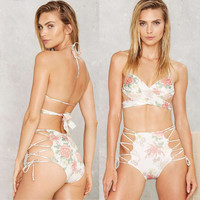 Floral Print Halter Cross Front Lace-Up Side Bottom Swimwear
