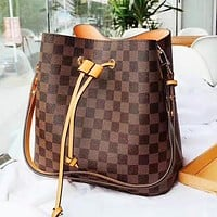 LV Louis Vuitton Women Shopping Plaid Leather Handbag Crossbody Satchel Bucket Bag