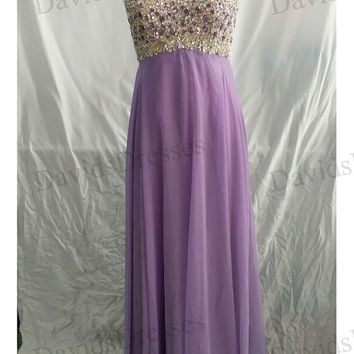 Beaded Backless Long Prom Dress 2016