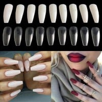 600pcs Trendy Long Ballerina Nails  3 Colors Coffin Shape Artificial French Fake Nail Tip Salon DecoratedFalse Nails