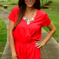 Surplice Solid Romper, Red