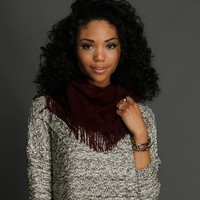 Sale-burgundy Cable Knit Circle Scarf