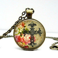 Cross Floral Necklace Glass Picture Pendant Photo by Lizabettas