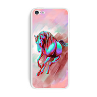 Horse Running Abstract Red Blue - Painterly Expressionism iPhone 5C Skin