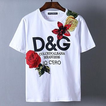 Dolce&Gabbana Women Man Fashion Flower Sequins Embroidery Shirt Top Tee