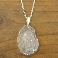 Silver Druzy Necklace - Gray Geode Natural Stone Rough Gemstone Pendant Jewelry