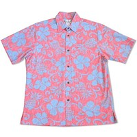 pineapple red reverse print hawaiian cotton shirt