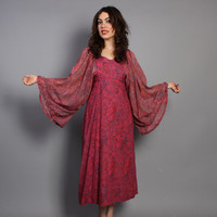 70s BOHO Floral DRESS / Deep Pink Dramatic Wide Sleeve Midi, s-m