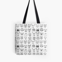 'Wild Animal Portraits in Black and White' Tote Bag by DoucetteDesigns