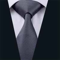 New Men Ties Gray Plaid Neck Tie 100% Silk Jacquard Ties For Men Business Wedding Party