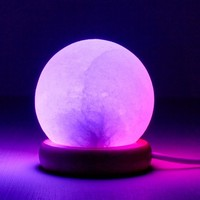 Round Mini USB Powered Salt Stone Lamp - White with Color Changing Light