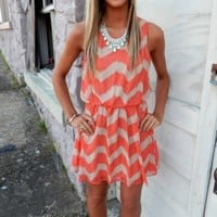 Coral/Taupe Sleeveless Dress