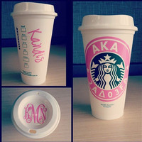 Starbucks Personalized Coffee Cup With Name Add On, Reusable Starbucks Cup, Starbucks Tumbler with FREE Monogram Lid and Name on Side