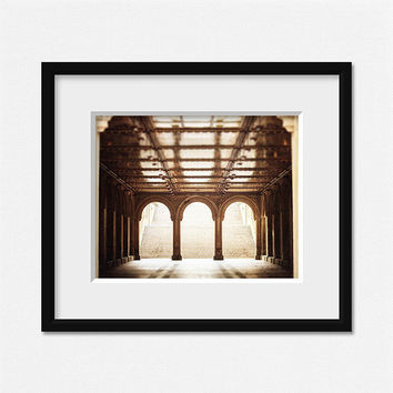 NYC Photography, NYC Art, New York City Central Park Print, Bethesda Terrace, Architecture Photography, Gold, Brown, Elegant, 8x10.