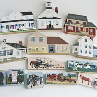 Vintage Amish Village The Cat's Meow Set of 13 Signed by Faline Collectible Casper the Cat