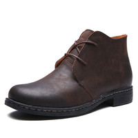 Classic Desert Boots Mens Ankle Martin Boot Genuine Leather Shoes Men Ankle Black Military Booties Cowboy Boot Casual Shoes Male