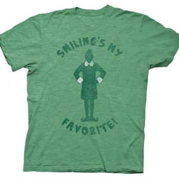 Elf Smiling's My Favorite Heathered Green Adult T-shirt