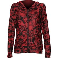 Gothic clothing: red women's jacket all-over skull print