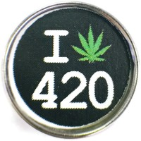 I Love 420 Marijuana Pot Leaf II 18MM - 20MM Fashion Snap Jewelry Charm