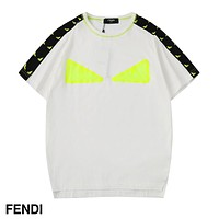 FENDI Summer Hot Sale Women Men Leisure Print Short Sleeve T-Shirt Top White